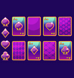 Cartoon purple four poker game cards and card back vector
