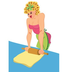 Cartoon woman in pink dress rolling dough vector