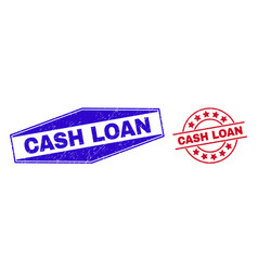 Cash loan unclean badges in round and hexagon vector