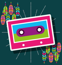 Cassette stereo retro feathers free spirit vector
