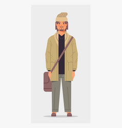 Casual man with shoulder bag male cartoon vector