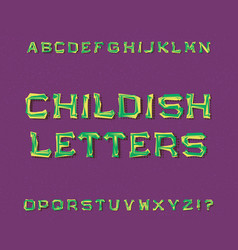childish letters typeface cartoon font isolated vector image