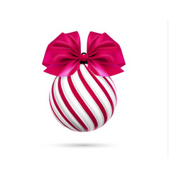 Christmas ball in white and pink color with vector
