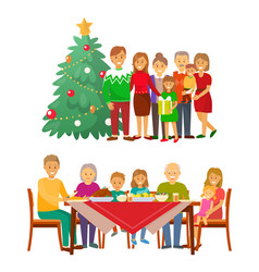 christmas holiday celebration family by fir tree vector image