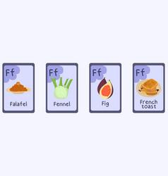 Colorful phonics flashcard letter f - fig falafel vector