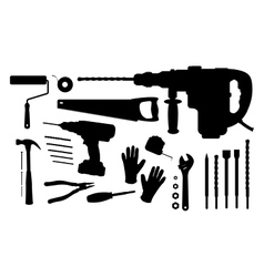 Construction tools silhouettes set vector
