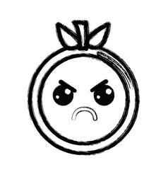Contour kawaii cute angry orange fruit vector