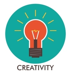Creativity Light bulb Line icon with flat design vector image