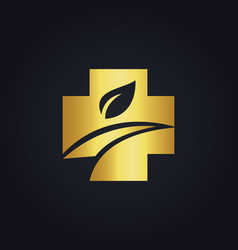 Cross organic medic gold logo vector