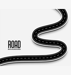 Curve winding road pathway in 3d style design vector