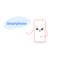 Cute smartphone cartoon comic character with vector