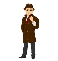 detective man looking through magnifying glass vector image