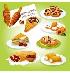 Eastern european cuisine desserts icon vector