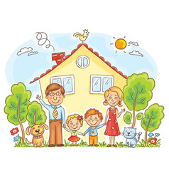 family at the house vector image