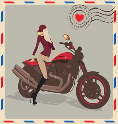 Fashion girl with motorbike vector