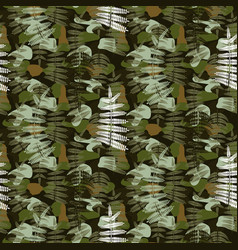 Fern leaves camouflage nature seamless pattern vector