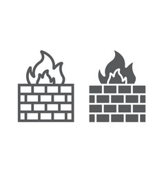 Firewall line and glyph icon fire and security vector