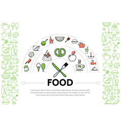 food line icons composition vector image