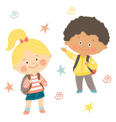 Funny hand drawn kids with backpacks cute boy and vector