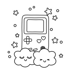 Game boy and clouds black and white vector