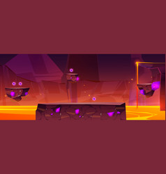 Game level background with platforms over lava vector