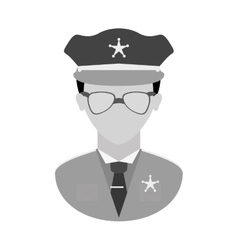 Grayscale police officer icon image vector