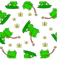 Green frog hand draw pattern style vector