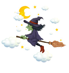green witch on flying broom at night vector image