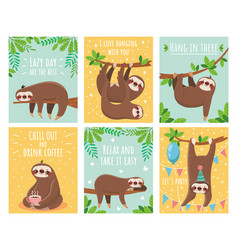Greeting card with lazy sloth cartoon cute sloths vector