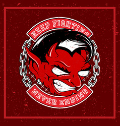 Grunge style angry red devil vector