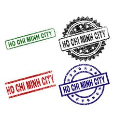 Grunge textured ho chi minh city stamp seals vector