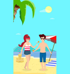 happy family at beach party smiling man and woman vector image