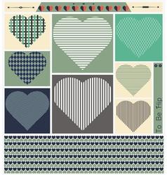 Hipster hearts art set vector