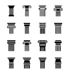 Historic pillar icons vector