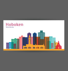 hoboken city new jersey architecture silhouette vector image