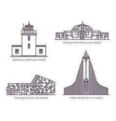 iceland or icelandic architecture in thin line vector image