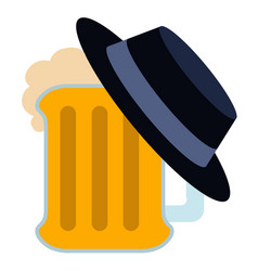 Isolated beer with a hat icon vector