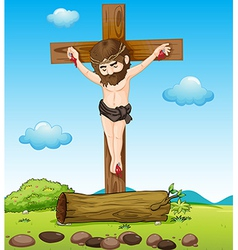 Jesus Christ at the cross vector