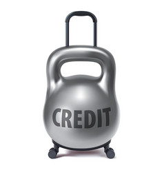 kettlebell like travel suitcase debt and loan vector image