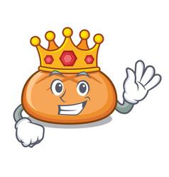 King hamburger bun mascot cartoon vector