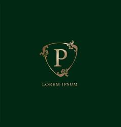 Letter p alphabetic logo design template luxury vector