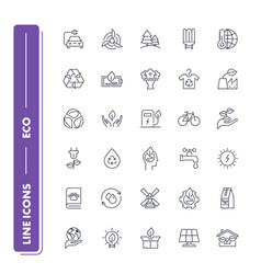 line icons set eco pack vector image