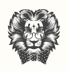 Lion head with round glasses and bow tie vector