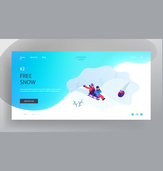 little children riding sleds and tubing downhills vector image