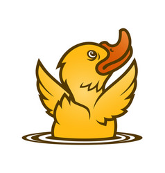 little yellow baby duck emerging from water vector image