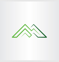 m letter green icon mountain line symbol element vector image