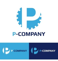 minimalistic blue P letter cog logotype vector image