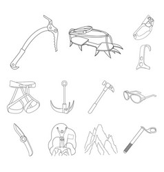 mountaineering and climbing outline icons in set vector image