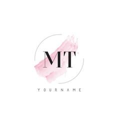 Mt m t watercolor letter logo design vector