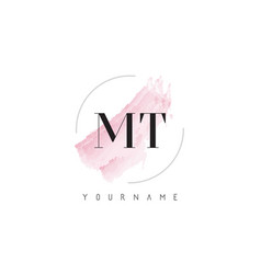 Mt m t watercolor letter logo design with vector